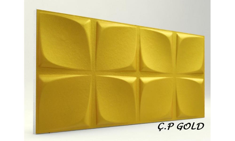 3D ÇİÇEK PANEL GOLD